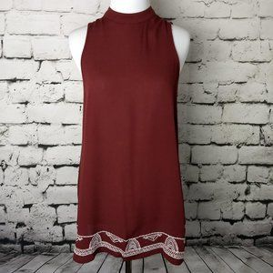 Mossimo Supply Co. Maroon High Neck Boho Tank Top